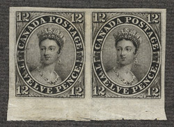 Canada: 1851, 12d. black an unused horizontal pair from the foot of the sheet.